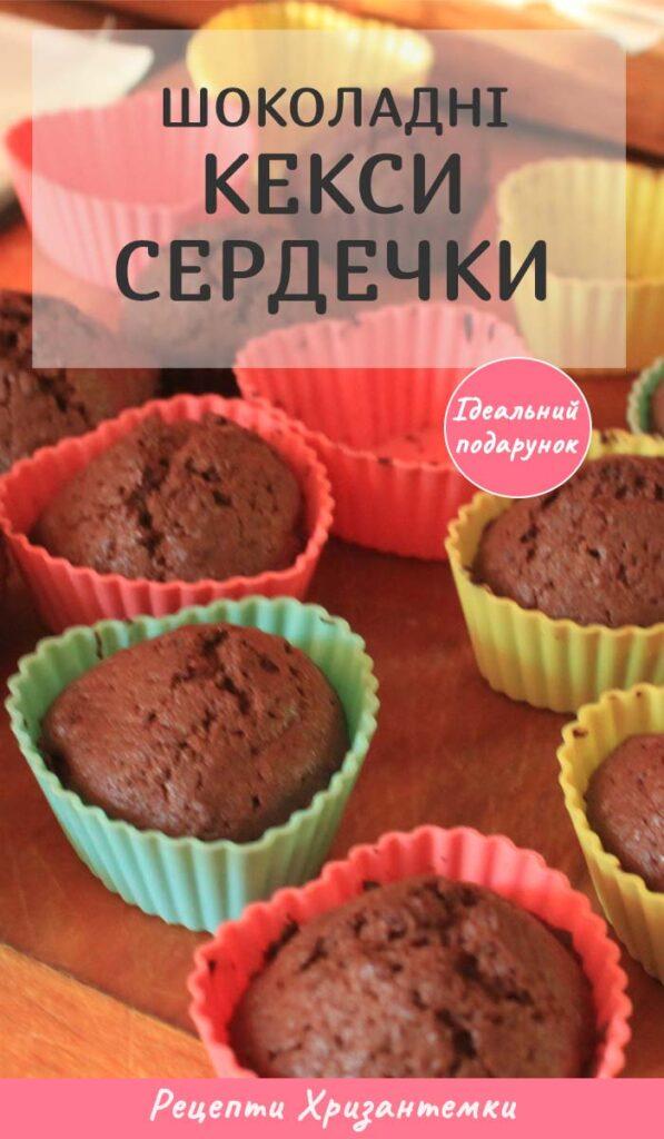 Шоколадні кекси сердечки